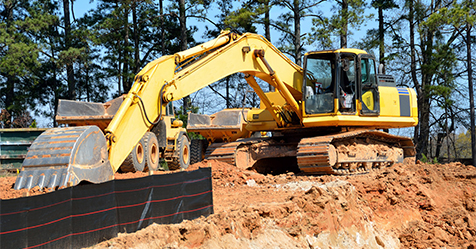 construction vehicles on construction site