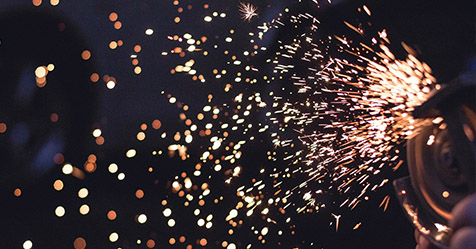 sparks being created by power tool